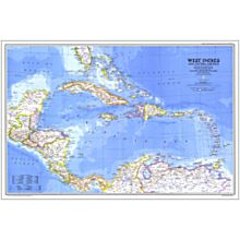 1981 West Indies and Central America Map, Laminated