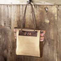 Suede Purses - Suede And Woven Manta Tote