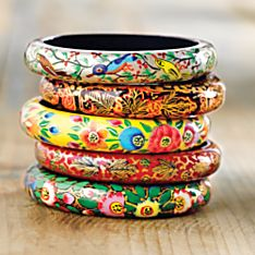 Handcrafted Kashmiri Floral Bangles - Set of 5
