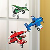 Tin Model Airplane Ornaments - Set of 3