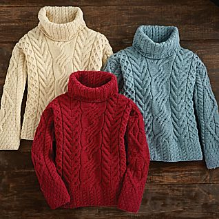 View Women's Irish Aran Turtleneck Sweater image