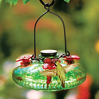 View Handblown Green Glass Hummingbird Feeder image