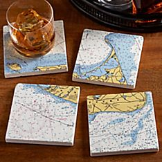 Personalized Nautical Chart Coasters - Set of 4