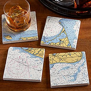 View Nautical Chart Coasters - Set of 4 image