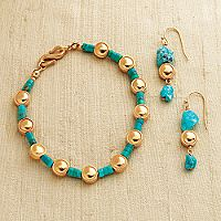 Bactrian Rimmed Spangle Bracelet with Turquoise Discs