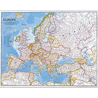 Europe Political Map, Mounted