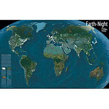 Earth at Night Map, Mounted