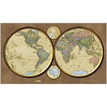 World Hemispheres Map, Mounted