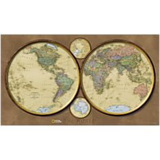 World Hemispheres Wall Map, Mounted