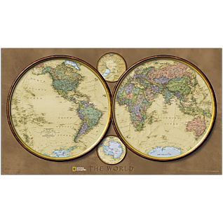 View World Hemispheres Map, Mounted image