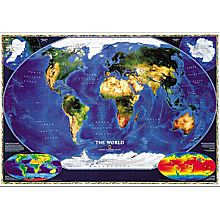 World Satellite Wall Map, Mounted