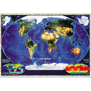 View World Satellite Map, Mounted image