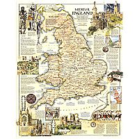 1979 Medieval England Map, Mounted