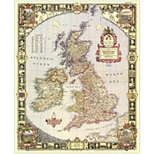 1949 British Isles Wall Map, Laminated