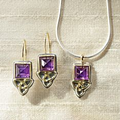 Handcrafted Celtic Aria Amethyst Earrings