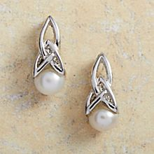 Handcrafted Celtic Pearl Earrings