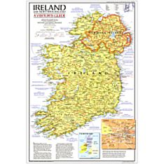 1981 Ireland And Northern Ireland Visitors Guide Wall Map, Laminated