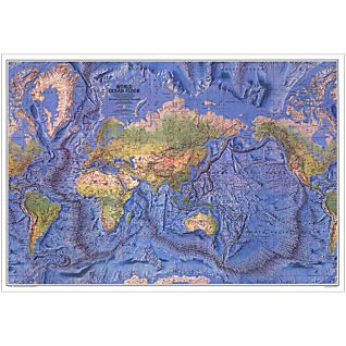 View 1981 World Ocean Floor Map, Laminated image