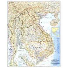 1967 Vietnam, Cambodia, Laos, and Thailand Wall Map, Laminated