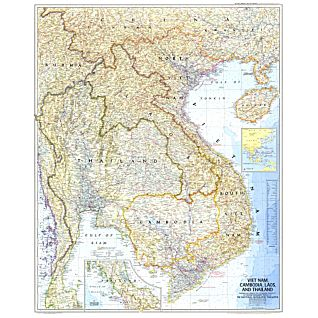 1967 Vietnam, Cambodia, Laos, and Thailand Map, Laminated