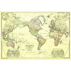 1922 World Wall Map, Laminated