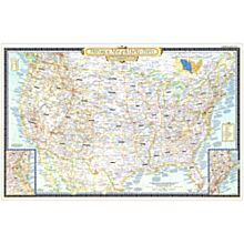 1953 Historical Wall Map of the United States, Laminated