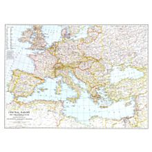 1939 Central Europe and the Mediterranean Wall Map, Laminated