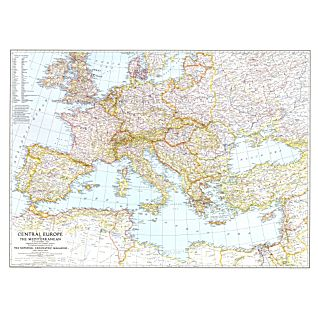 1939 Central Europe and the Mediterranean Map, Laminated