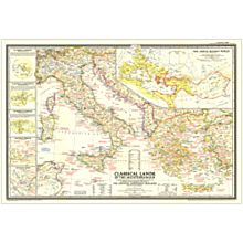 1949 Classical Lands of the Mediterranean Wall Map, Laminated