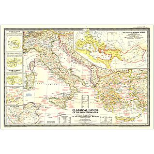 View 1949 Classical Lands of the Mediterranean Map, Laminated image