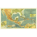 1922 Countries of the Caribbean Map
