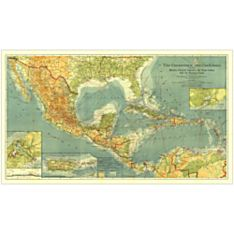 1922 Countries of the Caribbean Wall Map, Laminated