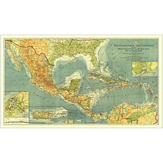 1922 Countries of the Caribbean Map, Laminated