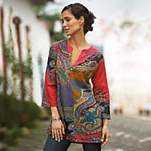 100% Cotton Indian Peacock Paisley Tunic