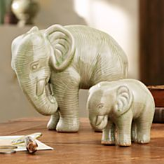 Thai Set of Two Celadon Elephants