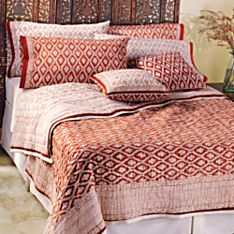 Indian Red Trellis White with Red Pillowcases, Set of 2