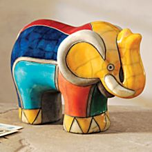 Handcrafted South African Raku Elephant