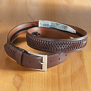 Woven Leather Money Belt