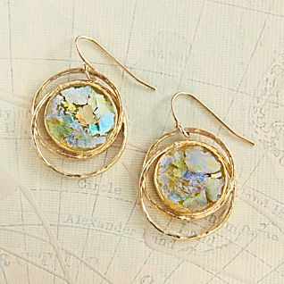 Gold-vermeil Roman Glass Earrings