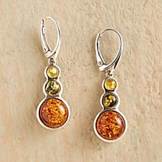 Sterling Silver Tricolor Baltic Amber Earrings