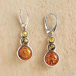 View Tricolor Baltic Amber Earrings image