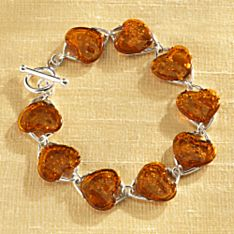 Eastern European Baltic Amber Heart Bracelet