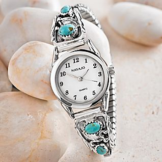 View Navajo Turquoise and Sterling Silver Watch image