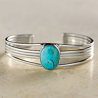 View Navajo Turquoise and Sterling Cuff Bracelet image