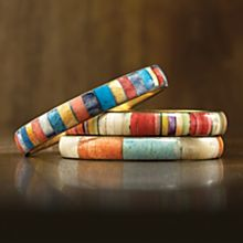 Hand-tooled Multicolored Bangles - Set of 3