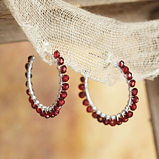 View Mughal Garnet Hoop Earrings image