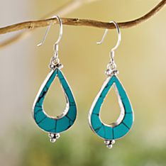 Handcrafted Turquoise Teardrop Earrings