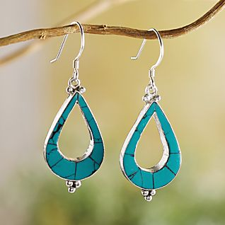 View Turquoise Teardrop Earrings image