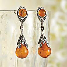 Handcrafted Art Deco Amber Teardrop Earrings