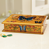 Peruvian Reverse-painted Butterfly Box